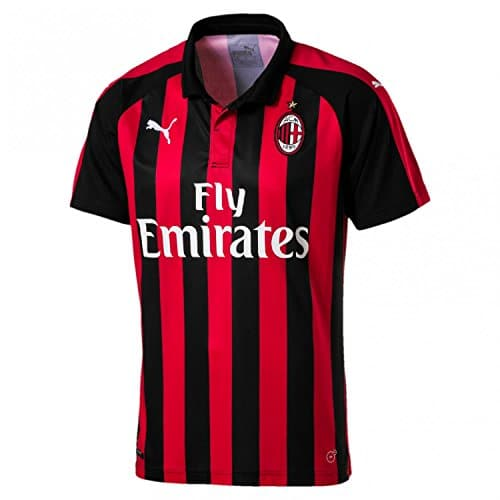 Puma AC Milan Home Replica SS with Sponsor Logo, T-Shirt Uomo, Tango Red/Nero